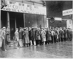 The Big Difference Between a Job and Work Unemployed men queued outside depression soup kitchen Chicago