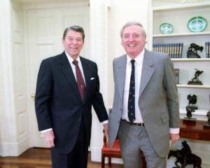 President Reagan meeting with William F. Buckley, jr., in the oval office