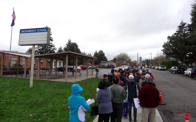 Protesting After School Satan Club at Sacramento Elementary School in Portland Oregon