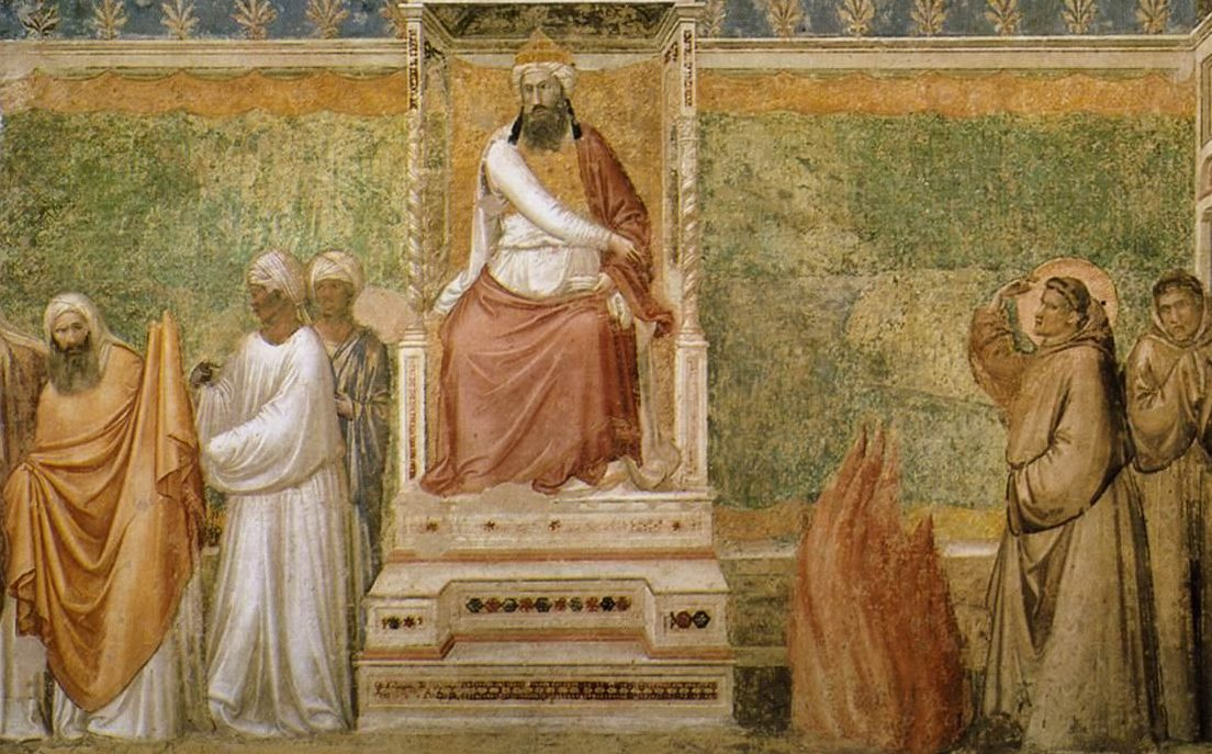 Giotto_di_Bondone_-_Scenes_from_the_Life_of_Saint_Francis_-_6._St_Francis_before_the_Sultan_Trial_by_Fire_-_WGA09313-e1492448141817 He Chose a Greater Chivalry: St. Francis of Assisi (Part 3)