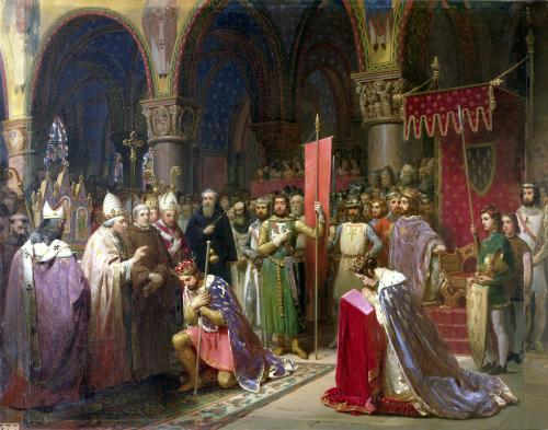 Louis-VII-receiving-the-oriflamme Military, Social, and Religious History of Chivalry and Knighthood