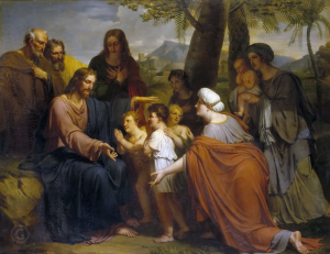 This picture portrays the scene when Our Lord says to suffer the children to come to Him.